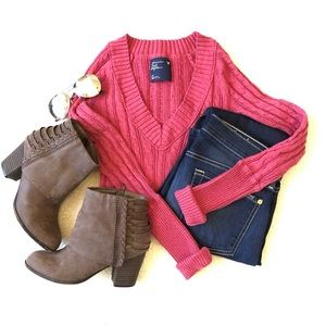 American Eagle Fitted Cable Knit Sweater